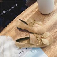 毛毛鞋女秋冬浅口加绒豆豆鞋韩国气质百搭水貂毛流苏球球平底单鞋
