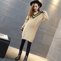 新款韩版孕妇装秋装上衣孕妇毛衣女秋冬潮妈宽松中长款打底衫