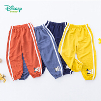 【99元3件】迪士尼Disney童装 宝宝防蚊裤小米奇印花撞色拼接长裤夏季新品男童空调裤