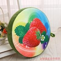 创意仿真3D水果坐垫靠垫抱枕加厚圆形儿童学生办公室卡通西瓜椅垫