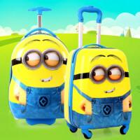 小黄人儿童拉杆箱万向轮可爱小猪卡通行李箱男18寸小学生旅行拖箱