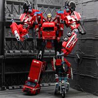 男孩变形金刚玩具合体合金变形机器人汽车吊车消防救护警车挖掘机