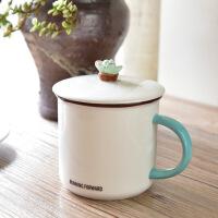 珀纳斯陶瓷水杯子咖啡杯带盖创意个性马克杯陶瓷奶茶杯
