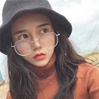 韩版圆框文艺平光近视眼镜框架透明圈装饰造型男女 透明白