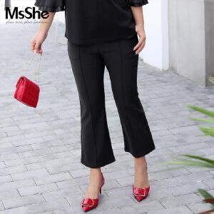 MsShe藏肉加大码女装2017新款复古微喇叭裤九分裤M1630033