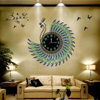 欧式孔雀挂钟客厅现代创意钟表简约挂表卧室静音夜光个性装饰时钟 20英寸以上
