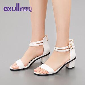 依思q夏新款凉鞋休闲后拉链舒适露趾高跟粗跟女鞋子