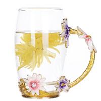 创意家用珐琅彩水杯套装耐热玻璃杯花茶杯果汁杯礼品杯杯子女