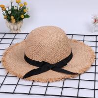 女童太阳帽 夏天防晒帽子拉菲草帽 儿童沙滩帽宝宝遮阳帽大帽檐 米色