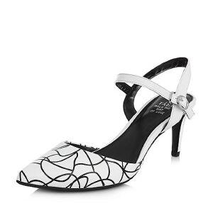 Tata/他她春专柜同款羊皮印花尖头细高跟女皮凉鞋T1042AH7