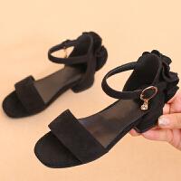 女童凉鞋新款韩版夏季高跟鞋鱼嘴时尚大童女童公主鞋学生小孩