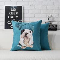 滑冰可爱狗狗沙发靠垫腰枕汽车抱枕套靠背靠枕午睡枕办公室座椅垫 如图