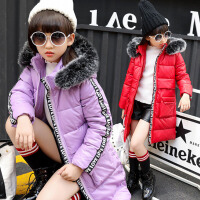 2017冬装韩版新款女童棉衣中长款加厚中大童毛领保暖棉袄儿童外套 XAD520字母pu棉衣