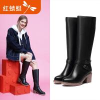 红蜻蜓女靴冬季新款长靴粗跟真皮高跟长筒靴女优雅职业靴