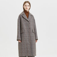 【2件1.5折价:329.9】羊毛混纺MECITY女装冬季赫本风复古格子大衣长款毛呢外套