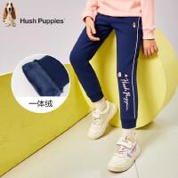 【预估券后价:79元】暇步士童装女童中大童冬季新款一体绒长裤印花logo修身运动裤