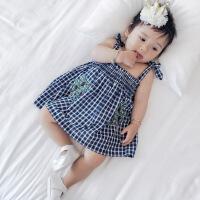 婴儿吊带裙子新生儿夏季韩版女童无袖背心薄款外出宝宝连衣裙