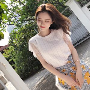 谜秀针织t恤女2018夏装新款韩版修身气质蕾丝无袖内搭体恤上衣潮