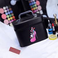 化妆包大容量多功能可爱便携旅行大号护肤品手提化妆箱多层化妆盒s6 【单箱】黑色小号