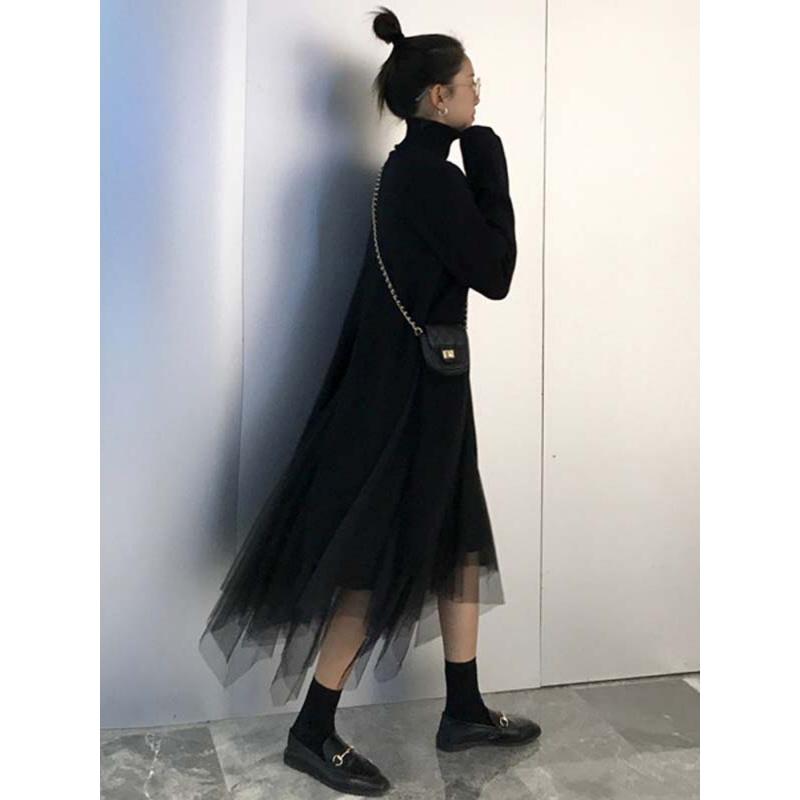 赫本风秋冬新款网红套装高领毛衣网纱裙子半身裙俏皮两件套女  均码