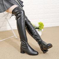 高跟女童靴子新款秋冬季加绒儿童马丁靴大童过膝长靴女童鞋亲子鞋 黑色
