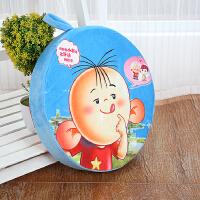 创意3D水果坐垫学生靠垫抱枕加厚圆形儿童可爱卡通幼儿园西瓜椅垫 军绿色 加大款-图图