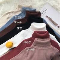 秋冬女装新款韩版纯色修身高领长袖针织衫加厚套头上衣打底衫