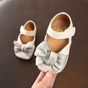女宝宝皮鞋蝴蝶结软底秋款单鞋 婴儿学步鞋防滑百搭公主鞋0-1-2岁
