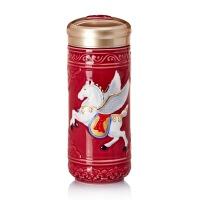 乾唐轩活瓷 鎏金飞黄腾达随身杯双层 陶瓷保温水杯子商务