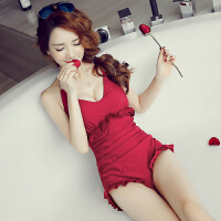 韩国平角温泉女士连体游泳衣女保守遮肚显瘦钢托聚拢小胸大胸泳装