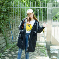 秋冬韩版连帽中长款宽松显瘦长袖风衣加肥加大码外套女上衣200斤