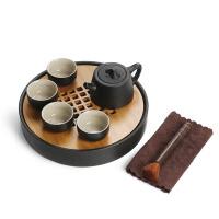 茶具套装 便携旅行简约黑陶茶具整套陶瓷茶杯茶盘