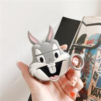 美式可爱卡通漫画兔八哥AirPods耳机套个性指环手绳全包硅胶airpods无线蓝牙耳机包1/2代通 兔八哥耳机套+手