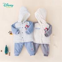 【2件3折到手价:99.6】迪士尼Disney童装 男童保暖夹棉套装冬季新品儿童连帽单排扣上衣加厚裤子两件套194T9