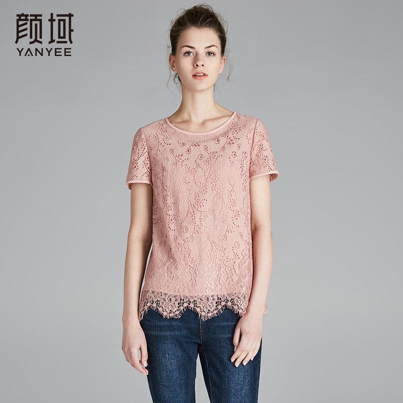 颜域新款直筒蕾丝衫短款圆领钩花镂空流苏花边上衣女2018夏季女装