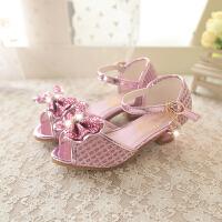 夏女童凉鞋儿童表演公主凉鞋女孩蝴蝶结鱼嘴小高跟鞋
