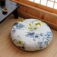 亚麻蒲团坐垫 加厚圆形大号布艺地板打坐日式阳台飘窗榻榻米坐垫
