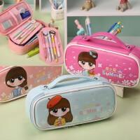 新款简约女生笔袋女创意韩国大容量文具袋铅笔盒可爱公主学生笔袋