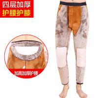 冬季四层驼绒加绒加厚男士保暖裤高腰防寒护膝护腰内穿东北棉 黑色