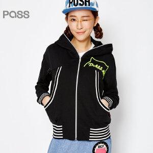 PASS原创潮牌春装新款 潮流条纹拼接拉梁带帽长袖棒球服短外套女6611411002