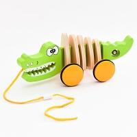 儿童木质卡通动物学步拖车男孩宝宝可爱早教玩具车拖拉小车 鳄鱼