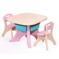 麦宝创玩 可拆儿童学习桌 小餐桌塑料桌饭桌写字桌 长方形儿童桌 幼儿园 儿童房 塑料桌椅 粉色一桌两椅子