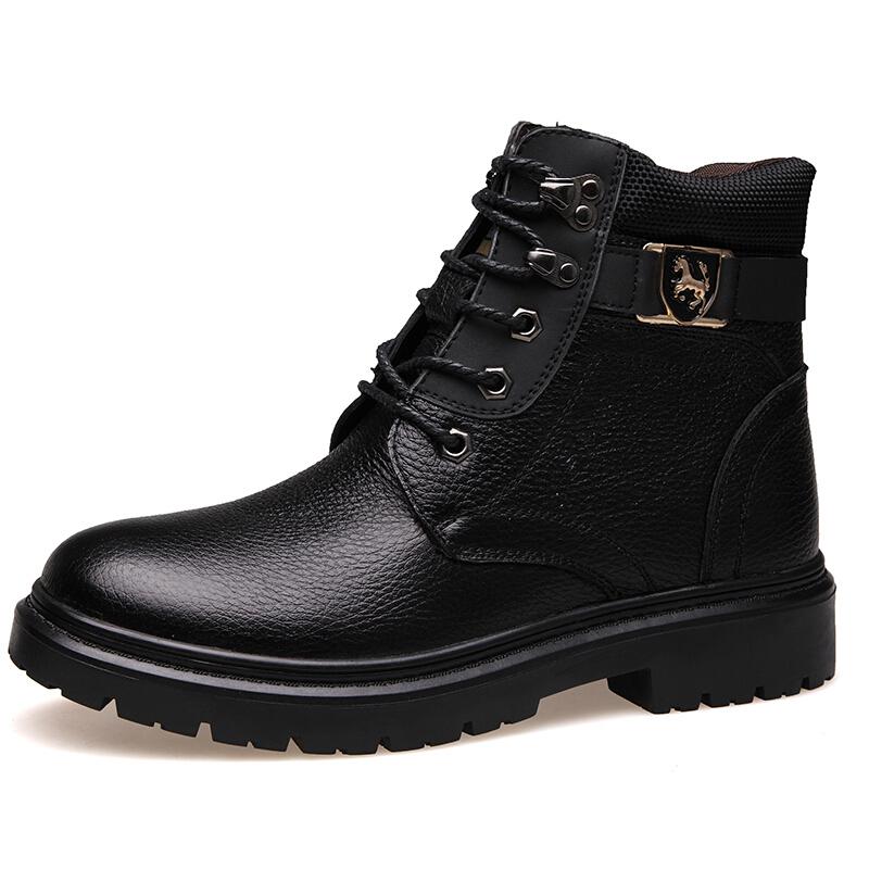 马丁靴男靴子冬季男士雪地短靴中帮高帮工装男鞋加绒棉鞋保暖