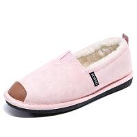 豆豆鞋 女士加绒平底一脚蹬懒人棉鞋2019冬季学生软底外穿低跟休闲毛毛鞋子