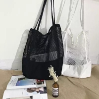2018夏季新款韩版网格手提包购物袋网眼镂空沙滩包帆布单肩女包包