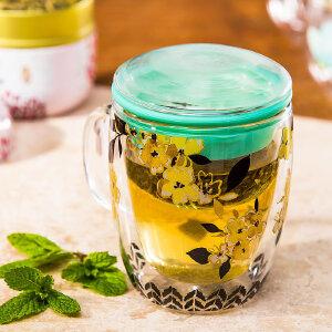 爱屋格林玻璃杯景德镇陶瓷茶水分离泡茶杯带盖杯子创意潮流男水杯