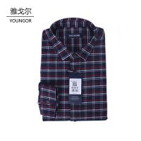 youngor/雅戈尔 新品保暖衬衣 BN16238MFA男士红色格子加厚保暖长袖衬衣