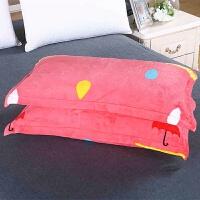 珊瑚绒枕套加绒加厚保暖法兰绒48*74cm可爱卡通春秋季一对 粉红色 小红伞(一对装) 48cmX74cm