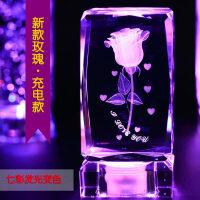 水晶玫瑰花3D内雕照片摆件生日结婚创意平安夜送女朋友圣诞节礼物