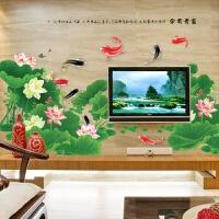 中国风可移除墙贴纸客厅卧室电视沙发背景墙贴超大型荷塘景色 荷塘月色 超大
